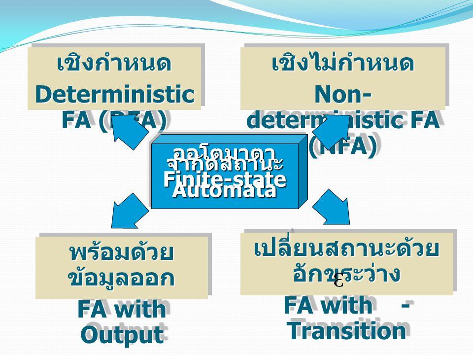 Deterministic FA (DFA) เชิงไม่กำหนด Non-deterministic FA (NFA)