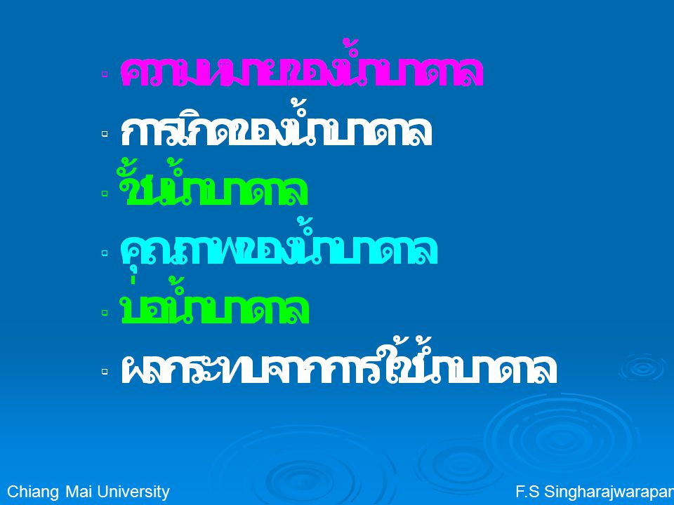 Chiang Mai University F.S Singharajwarapan