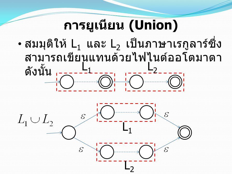 การยูเนียน (Union) สมมุติให้ L1 และ L2 เป็นภาษาเรกูลาร์ซึ่งสามารถเขียนแทนด้วยไฟไนต์ออโตมาตา ดังนั้น.