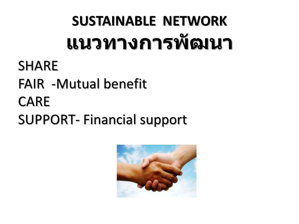 แนวทางการพัฒนา SUSTAINABLE NETWORK SHARE FAIR -Mutual benefit CARE