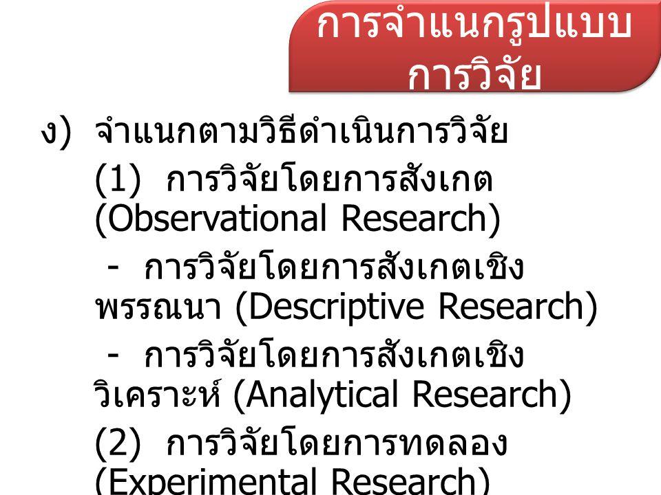 การจำแนกรูปแบบการวิจัย