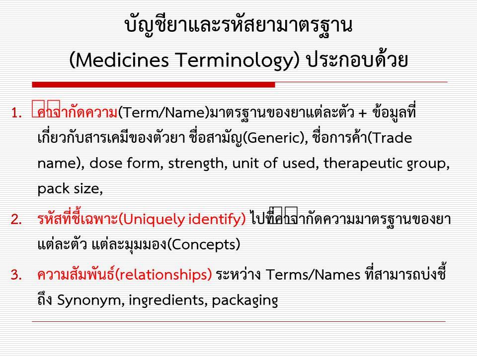 บัญชียาและรหัสยามาตรฐาน (Medicines Terminology) ประกอบด้วย