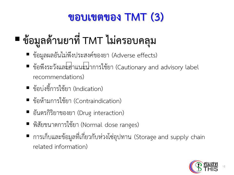 ขอบเขตของ TMT (3) ข้อมูลด้านยาที่ TMT ไม่ครอบคลุม