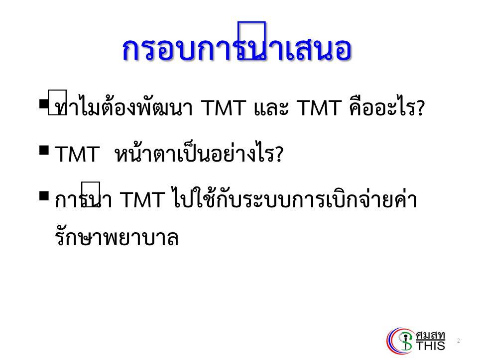 กรอบการนำเสนอ ทำไมต้องพัฒนา TMT และ TMT คืออะไร