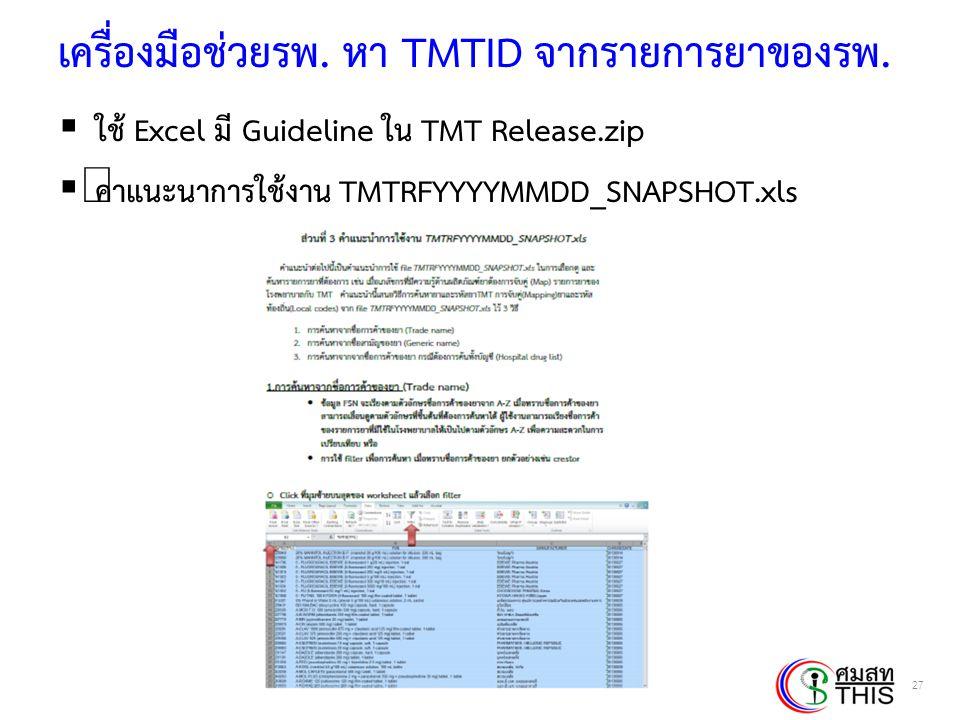 เครื่องมือช่วยรพ. หา TMTID จากรายการยาของรพ.