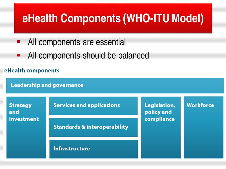 eHealth Components (WHO-ITU Model)