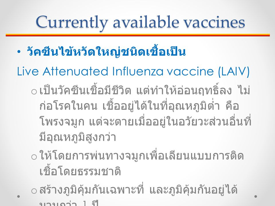 Currently available vaccines