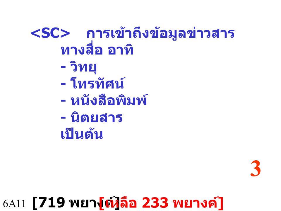 <SC> การเข้าถึงข้อมูลข่าวสารทางสื่อ อาทิ - วิทยุ - โทรทัศน์ - หนังสือพิมพ์ - นิตยสาร เป็นต้น