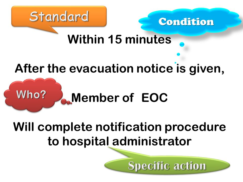 Standard Within 15 minutes After the evacuation notice is given,
