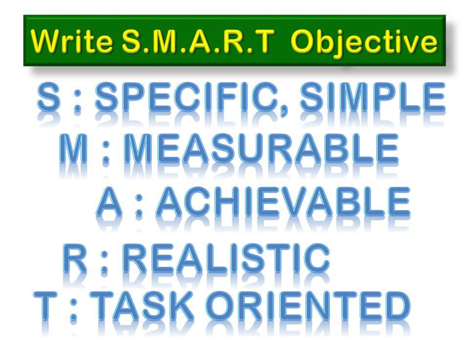 S : Specific, simple M : measurable A : achievable R : realistic
