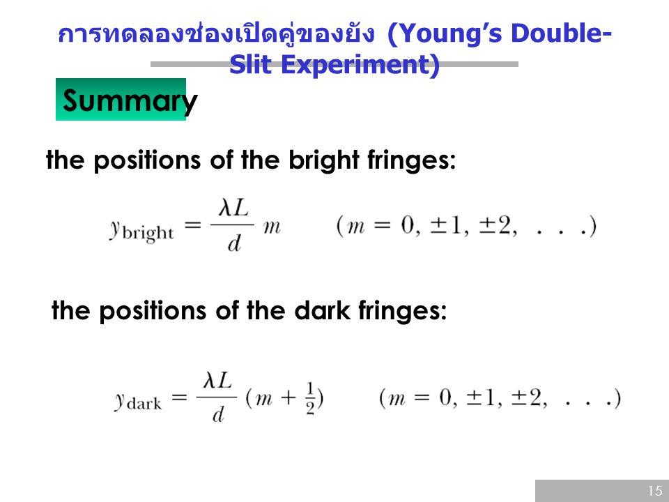 การทดลองช่องเปิดคู่ของยัง (Young's Double-Slit Experiment)