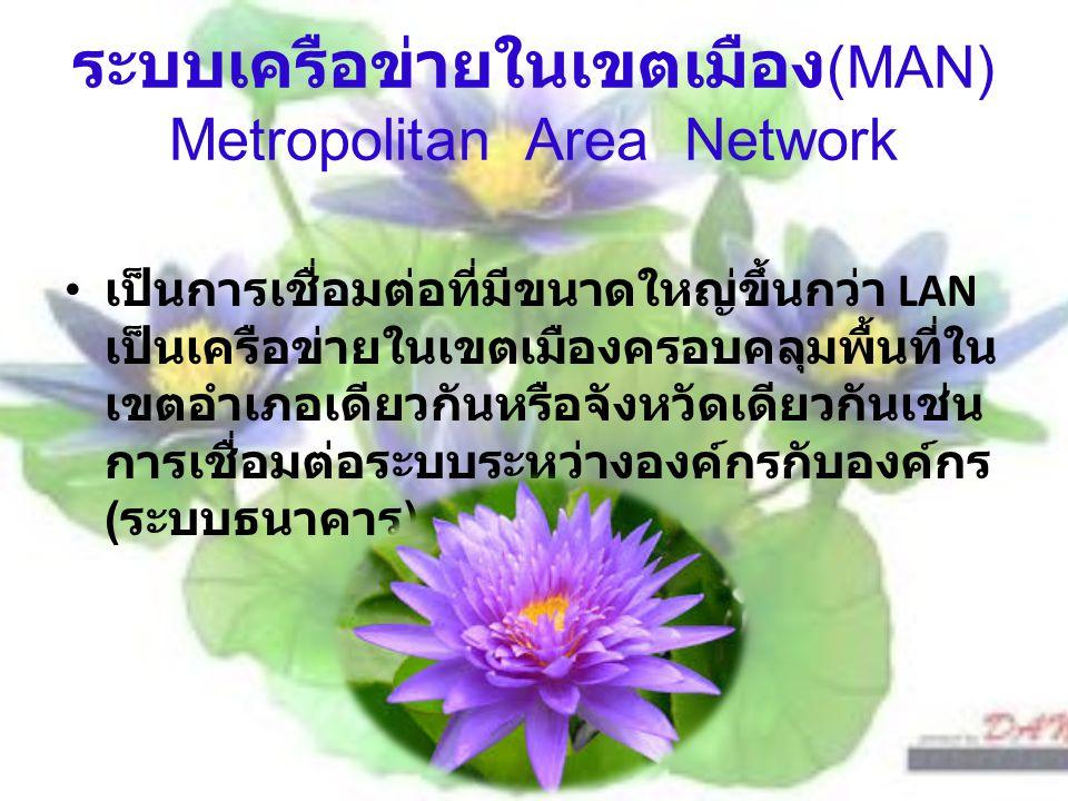 ระบบเครือข่ายในเขตเมือง(MAN) Metropolitan Area Network