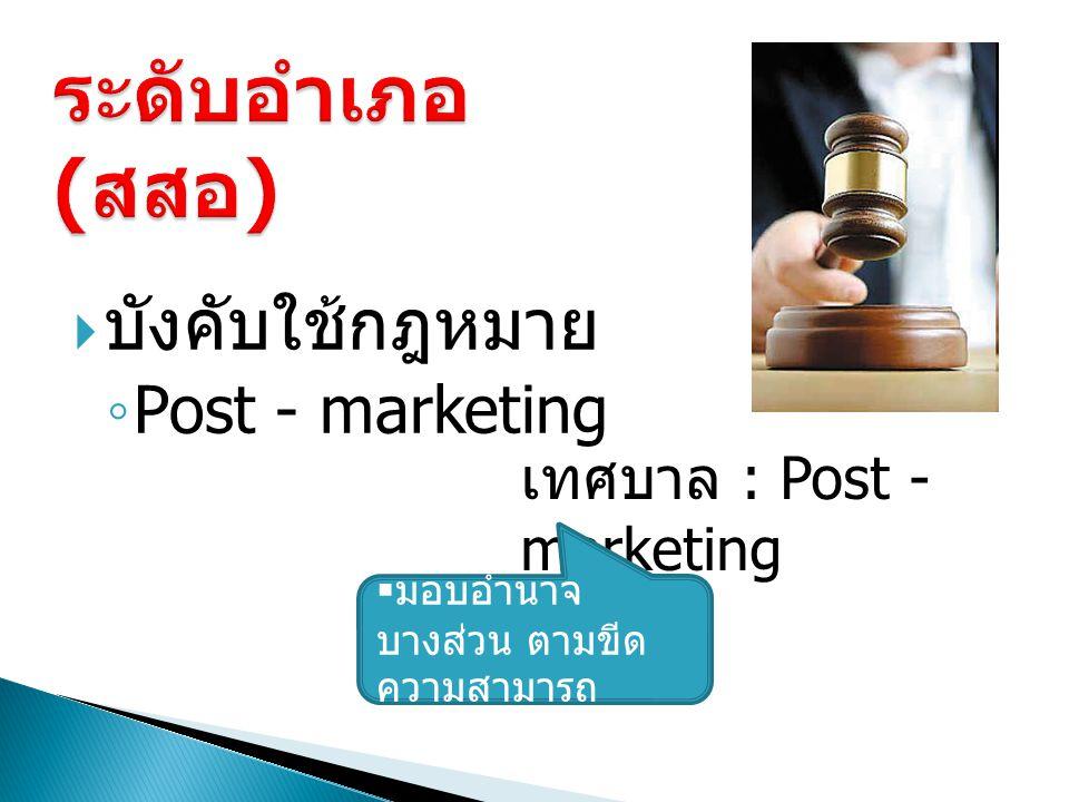 ระดับอำเภอ (สสอ) บังคับใช้กฎหมาย Post - marketing
