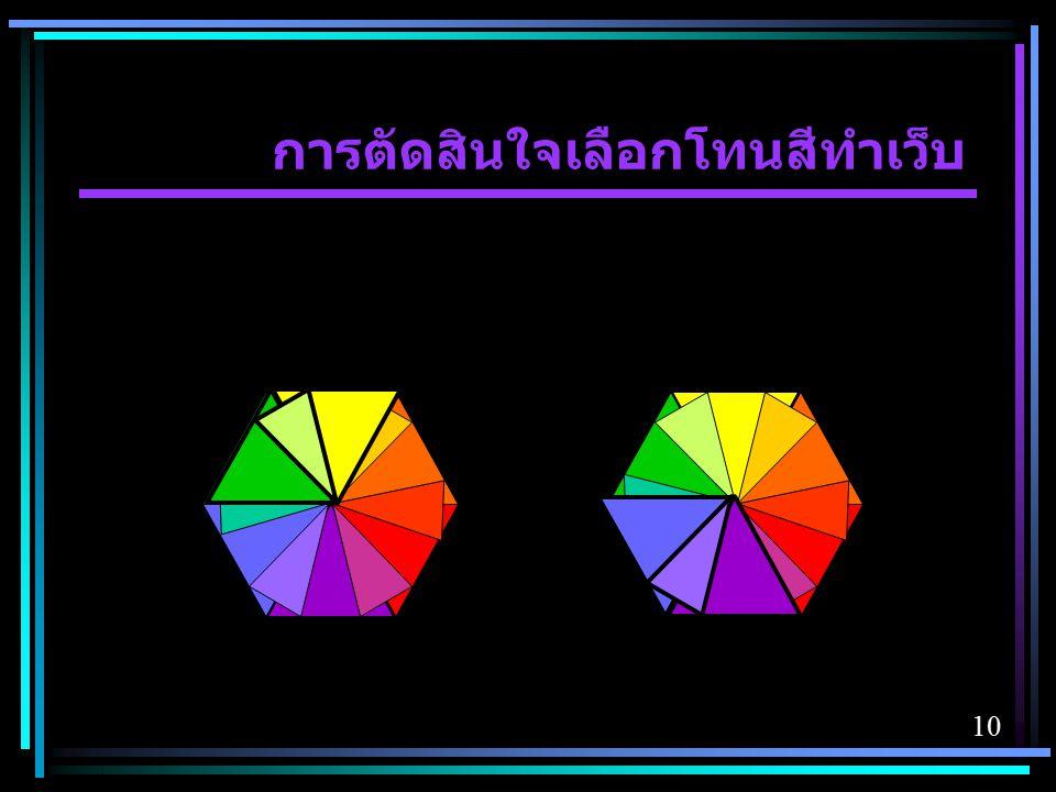การตัดสินใจเลือกโทนสีทำเว็บ