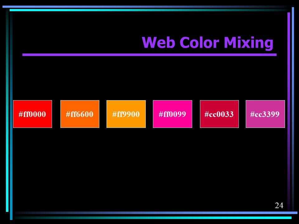 Web Color Mixing #ff0000 #ff6600 #ff9900 #ff0099 #cc0033 #cc3399