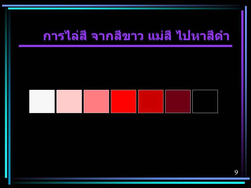 การไล่สี จากสีขาว แม่สี ไปหาสีดำ
