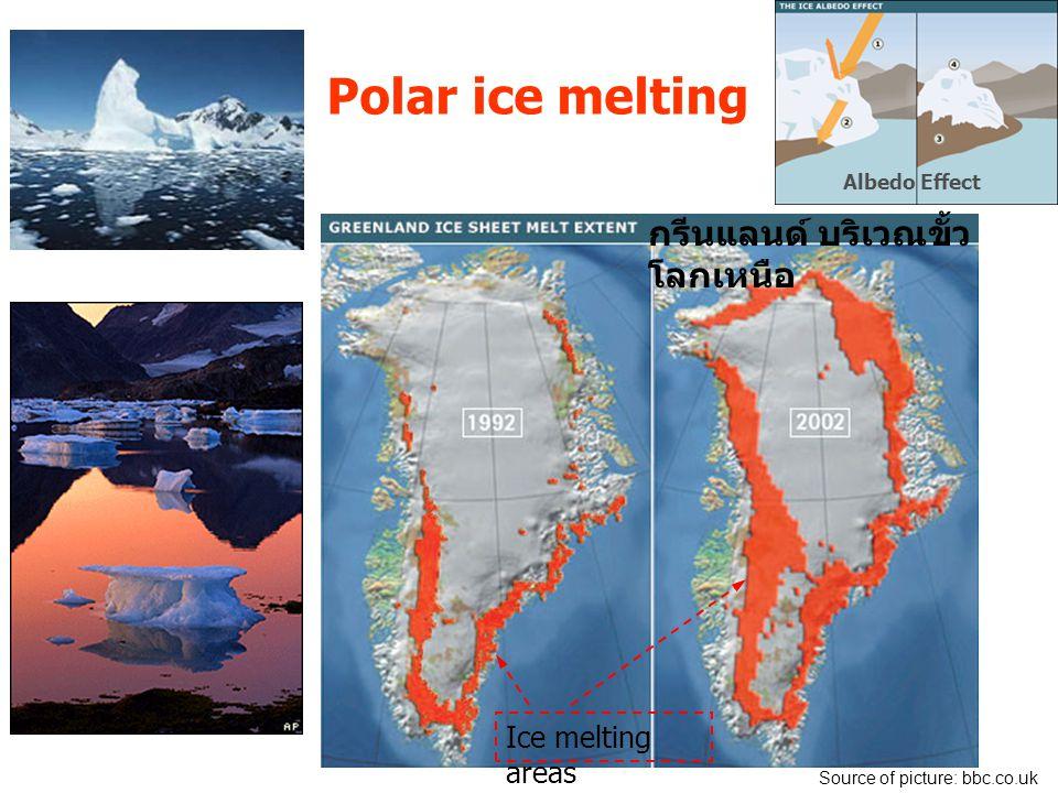 Polar ice melting กรีนแลนด์ บริเวณขั้วโลกเหนือ Ice melting areas