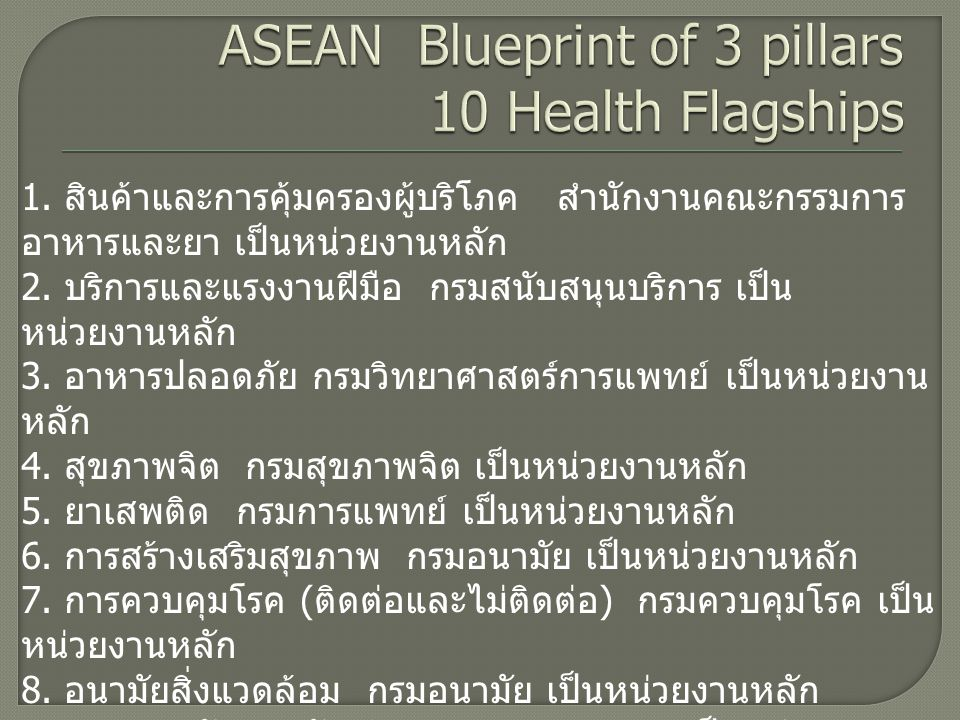 ASEAN Blueprint of 3 pillars 10 Health Flagships