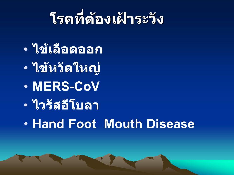 โรคที่ต้องเฝ้าระวัง ไข้เลือดออก ไข้หวัดใหญ่ MERS-CoV ไวรัสอีโบลา