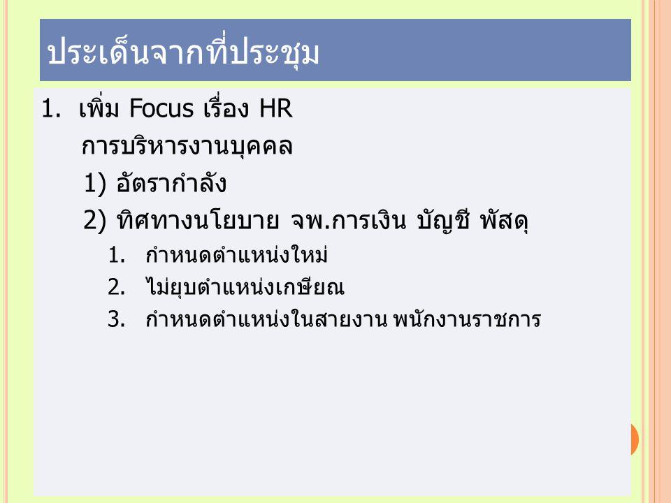 ประเด็นจากที่ประชุม เพิ่ม Focus เรื่อง HR การบริหารงานบุคคล