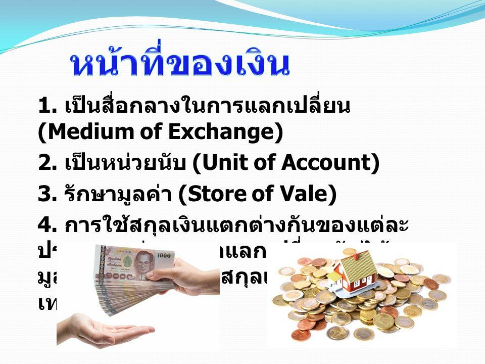 หน้าที่ของเงิน 1. เป็นสื่อกลางในการแลกเปลี่ยน (Medium of Exchange)