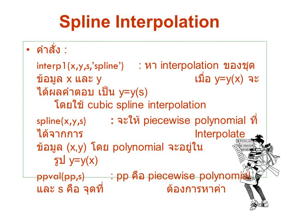 Spline Interpolation คำสั่ง :