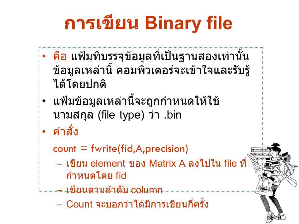 การเขียน Binary file คือ แฟ้มที่บรรจุข้อมูลที่เป็นฐานสองเท่านั้น ข้อมูลเหล่านี้ คอมพิวเตอร์จะเข้าใจและรับรู้ได้โดยปกติ