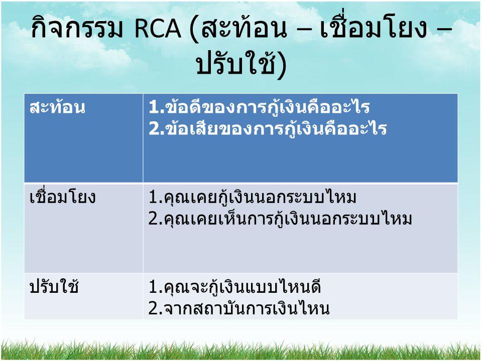 กิจกรรม RCA (สะท้อน – เชื่อมโยง – ปรับใช้)