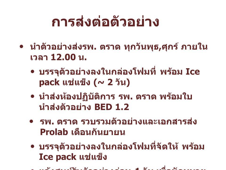 การส่งต่อตัวอย่าง นำตัวอย่างส่งรพ. ตราด ทุกวันพุธ,ศุกร์ ภายในเวลา 12.00 น. บรรจุตัวอย่างลงในกล่องโฟมที่ พร้อม Ice pack แช่แข็ง (~ 2 วัน)