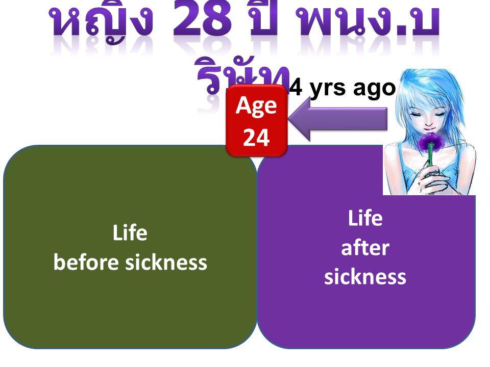 หญิง 28 ปี พนง.บริษัท Age 24 4 yrs ago Life Life after before sickness