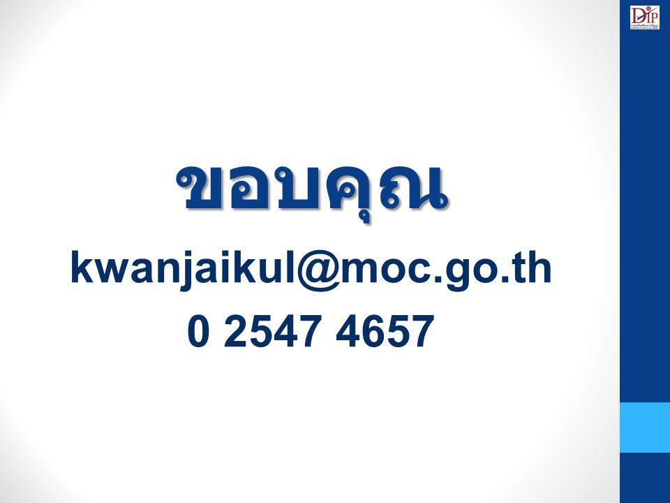 ขอบคุณ kwanjaikul@moc.go.th 0 2547 4657