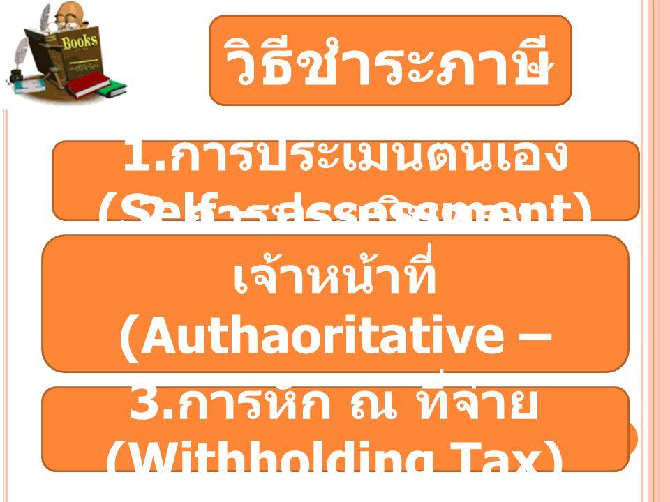วิธีชำระภาษี 1.การประเมินตนเอง (Self – assessment)
