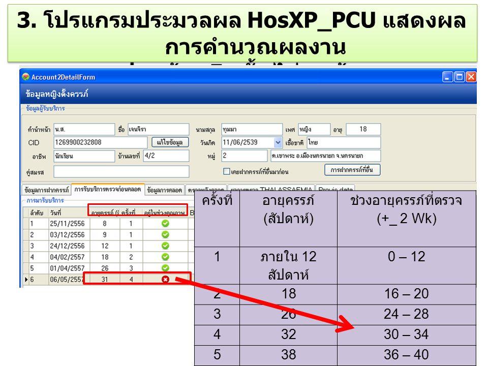 3. โปรแกรมประมวลผล HosXP_PCU แสดงผลการคำนวณผลงาน