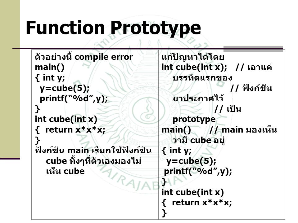 Function Prototype ตัวอย่างนี้ compile error main() { int y;