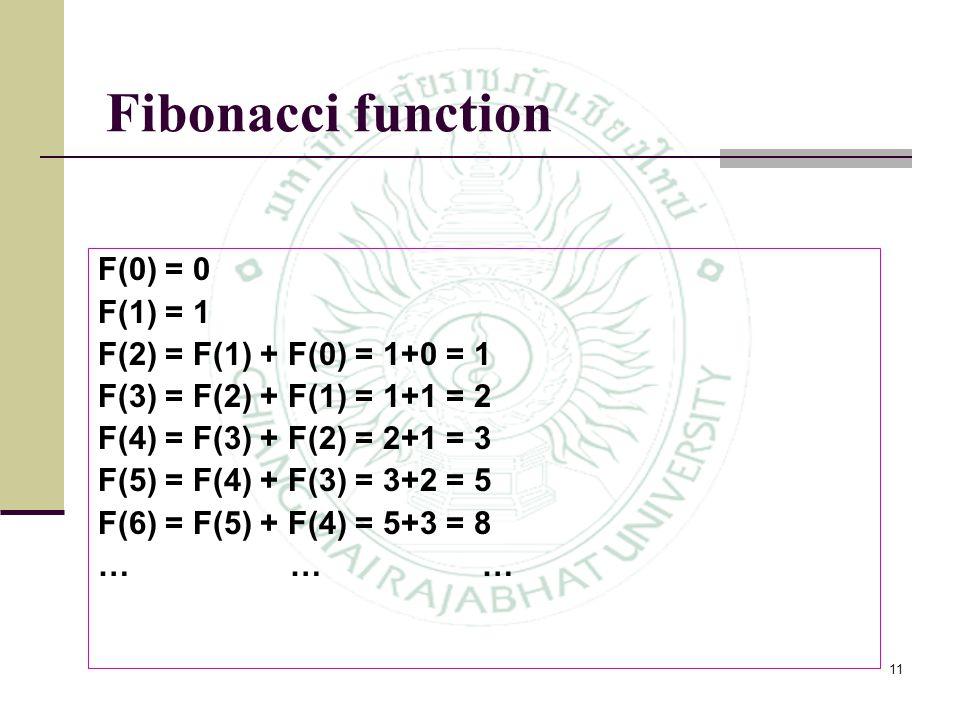Fibonacci function F(0) = 0 F(1) = 1 F(2) = F(1) + F(0) = 1+0 = 1