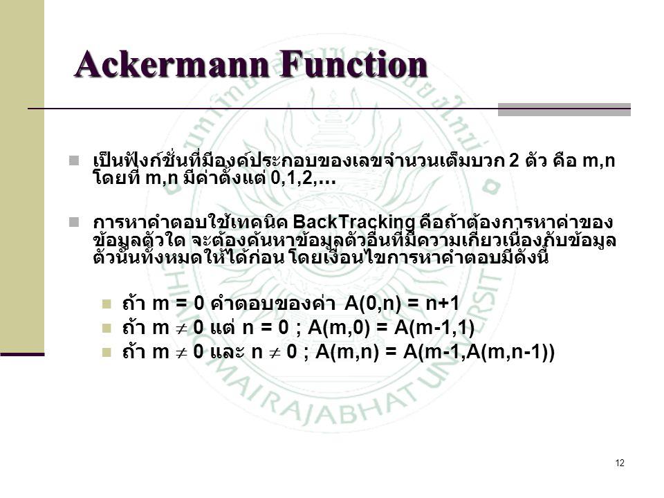 Ackermann Function ถ้า m = 0 คำตอบของค่า A(0,n) = n+1