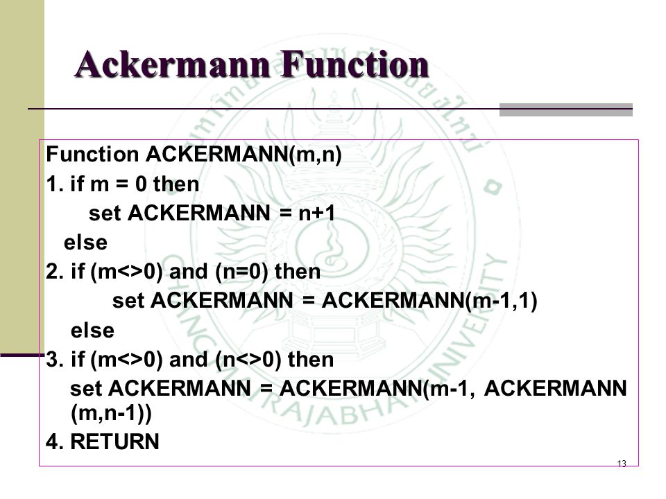Ackermann Function Function ACKERMANN(m,n) 1. if m = 0 then