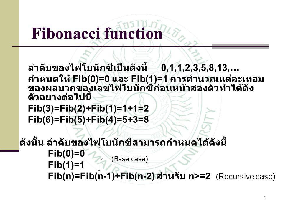 Fibonacci function ลำดับของไฟโบนักซีเป็นดังนี้ 0,1,1,2,3,5,8,13,…