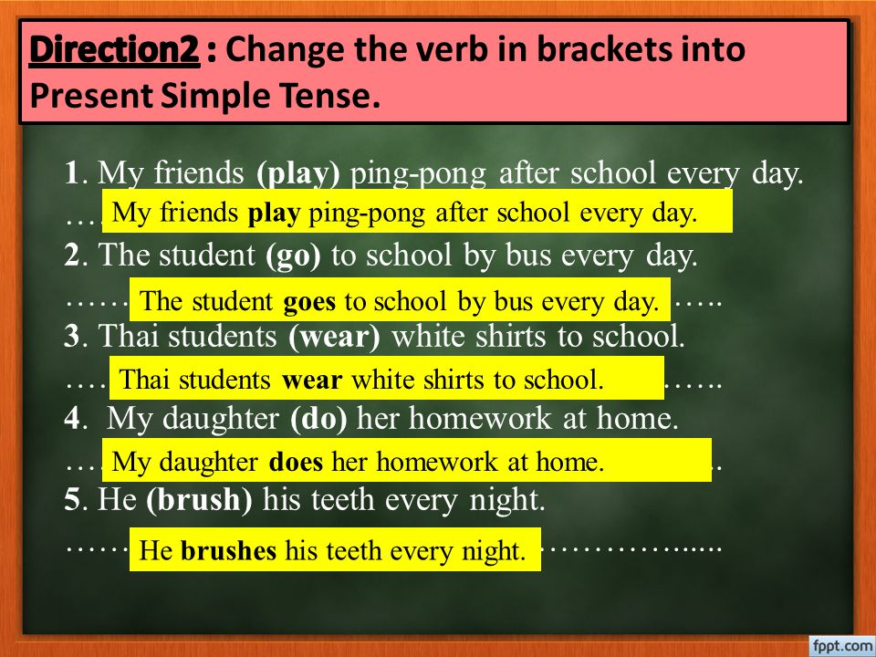 Direction2 : Change the verb in brackets into Present Simple Tense.
