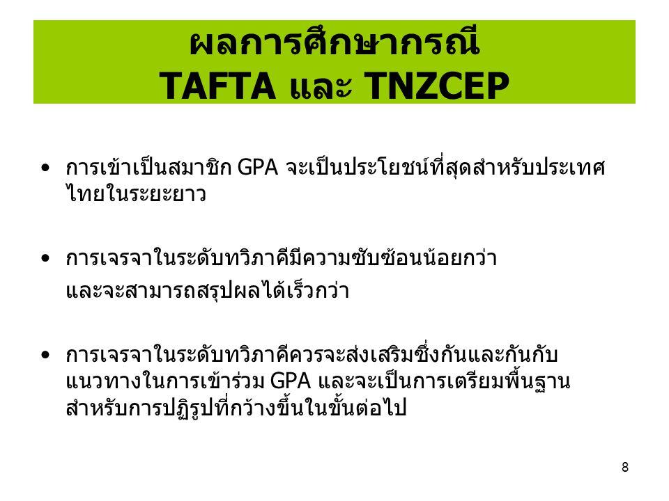 ผลการศึกษากรณี TAFTA และ TNZCEP