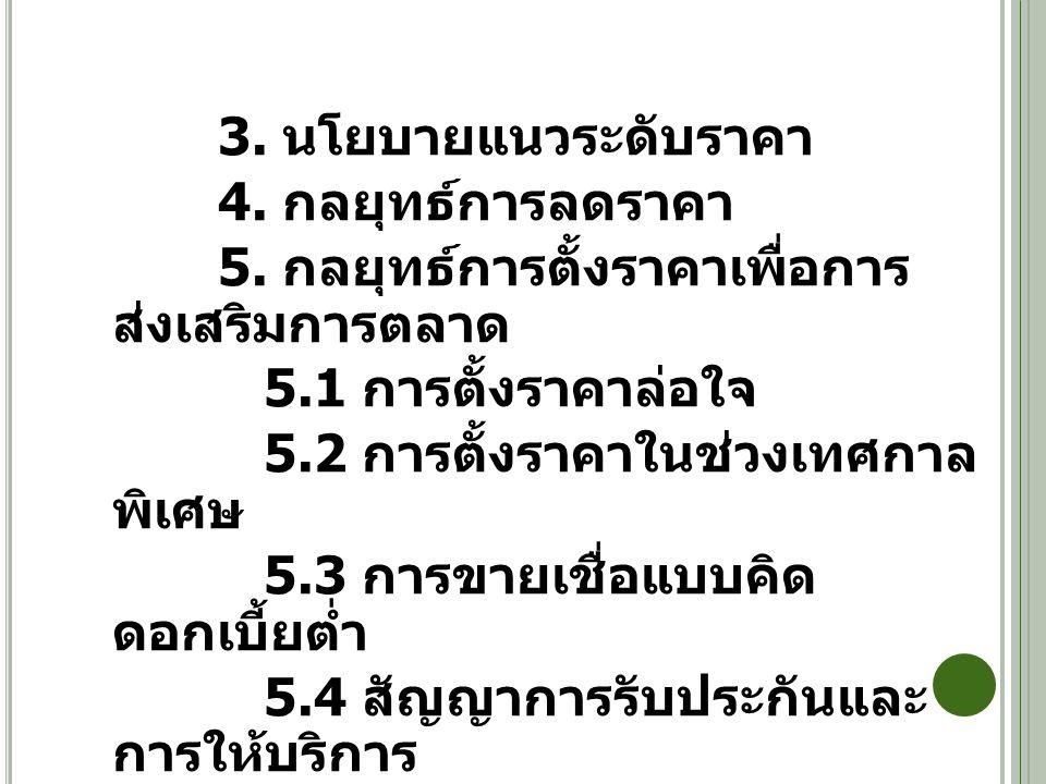 3. นโยบายแนวระดับราคา 4. กลยุทธ์การลดราคา 5