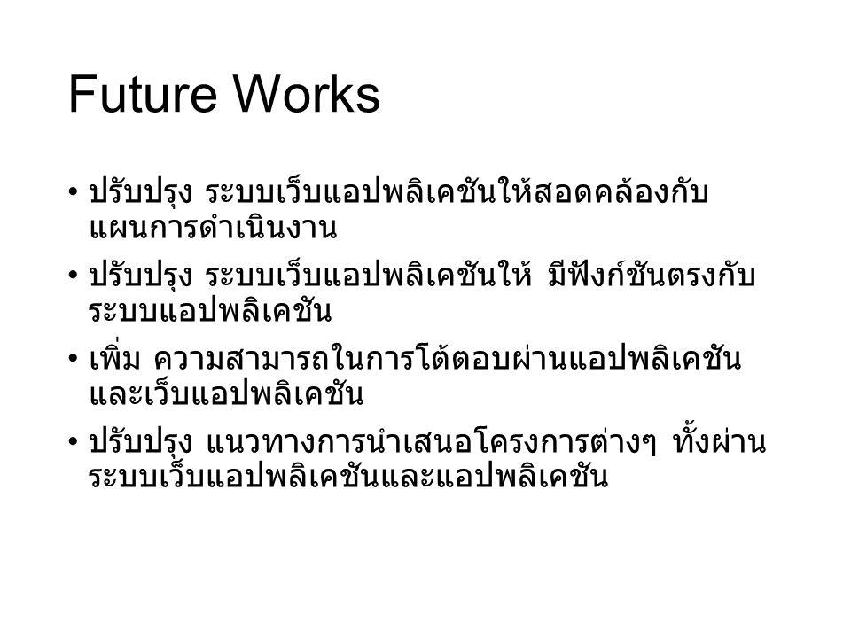 Future Works ปรับปรุง ระบบเว็บแอปพลิเคชันให้สอดคล้องกับ แผนการดำเนินงาน. ปรับปรุง ระบบเว็บแอปพลิเคชันให้ มีฟังก์ชันตรงกับระบบแอปพลิเคชัน.