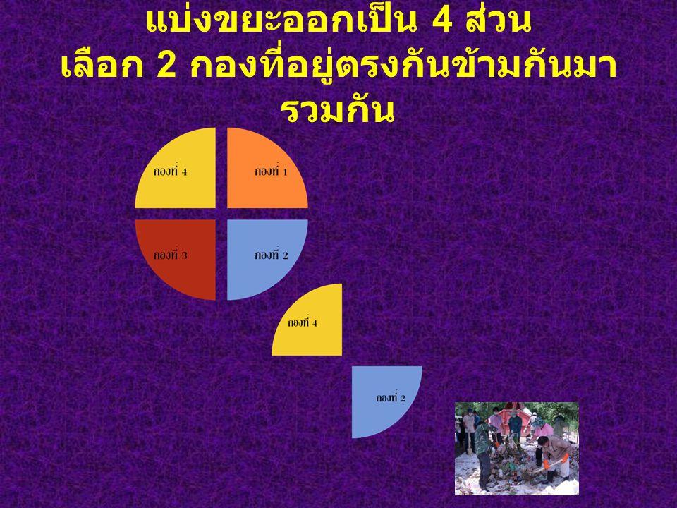 แบ่งขยะออกเป็น 4 ส่วน เลือก 2 กองที่อยู่ตรงกันข้ามกันมารวมกัน