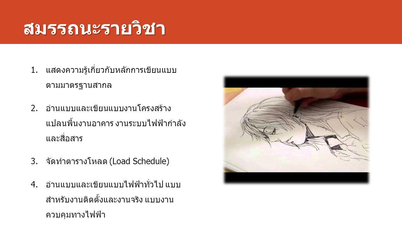 สมรรถนะรายวิชา แสดงความรู้เกี่ยวกับหลักการเขียนแบบตาม มาตรฐานสากล
