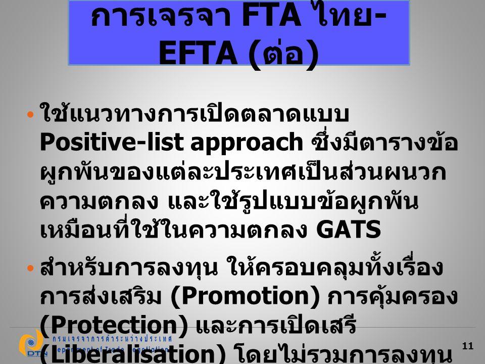 การเจรจา FTA ไทย-EFTA (ต่อ)