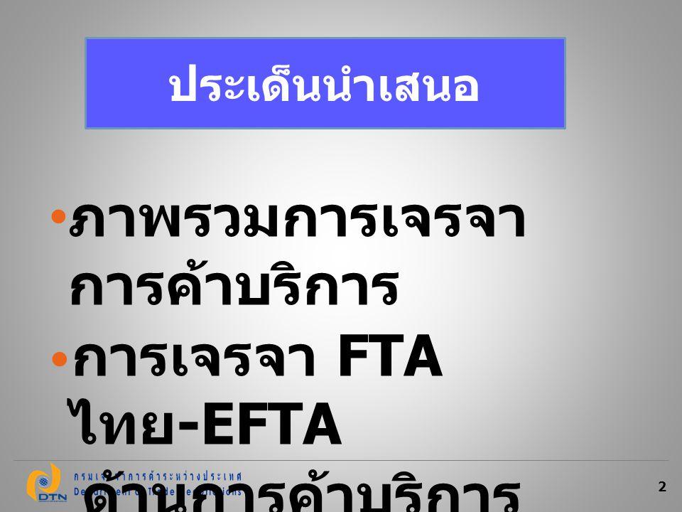 ภาพรวมการเจรจา การค้าบริการ การเจรจา FTA ไทย- EFTA