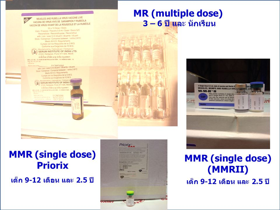MR (multiple dose) MMR (single dose) Priorix MMR (single dose) (MMRII)