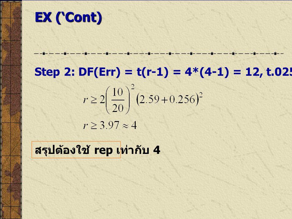 EX ('Cont) Step 2: DF(Err) = t(r-1) = 4*(4-1) = 12, t.025(12) = 2.59, t.80(12) = 0.259.