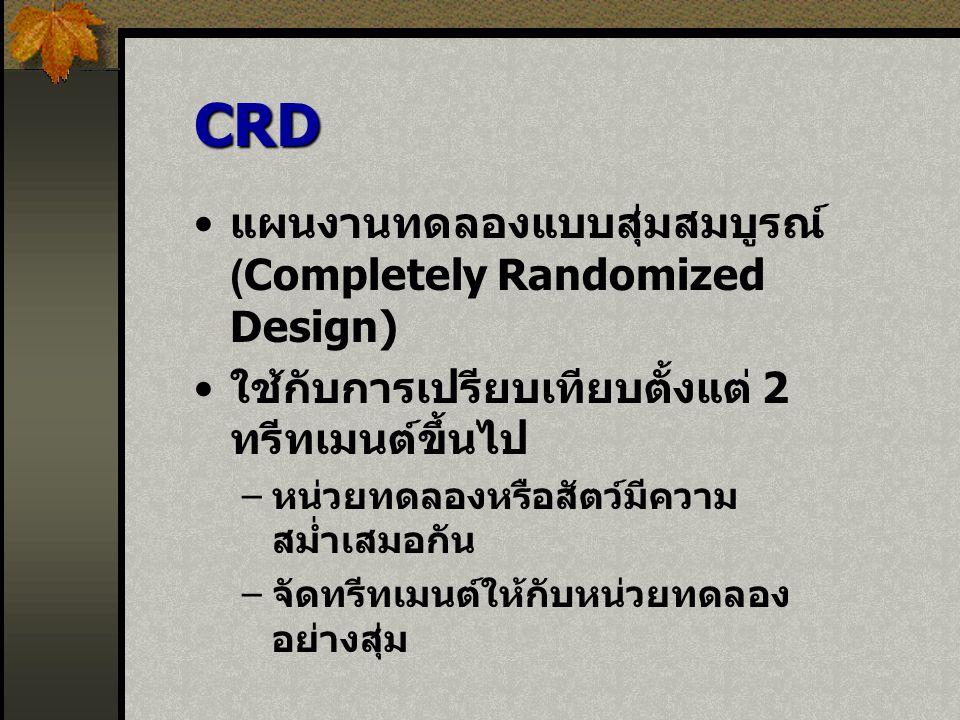 CRD แผนงานทดลองแบบสุ่มสมบูรณ์ (Completely Randomized Design)