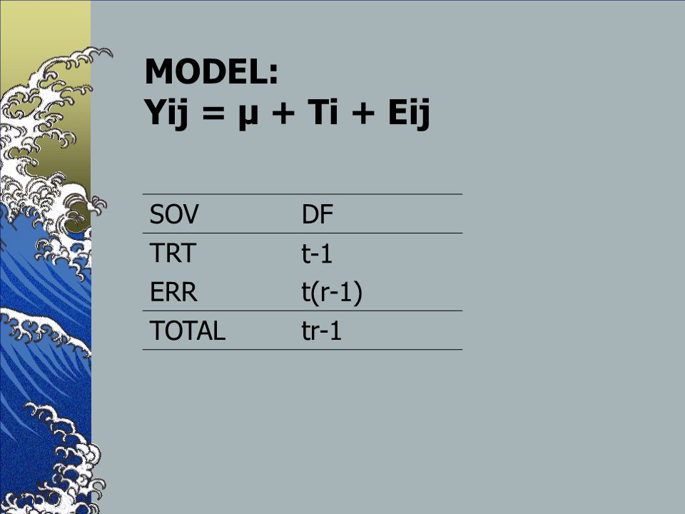 MODEL: Yij = µ + Ti + Eij SOV DF TRT t-1 ERR t(r-1) TOTAL tr-1